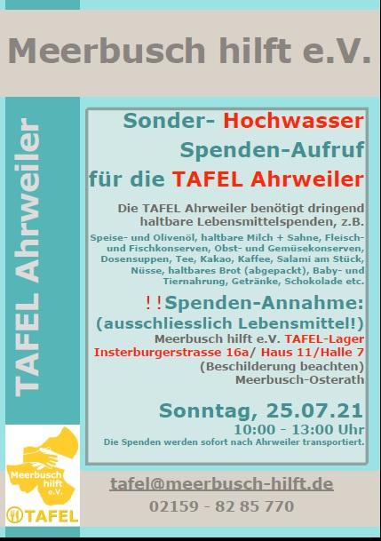 Meerbusch hilft sammelt haltbare Lebensmittel für TAFEL in Ahrweiler
